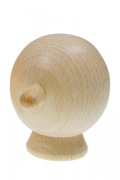 Marionettenkopf/Puppenkopf mit Hals, aus Holz, rund