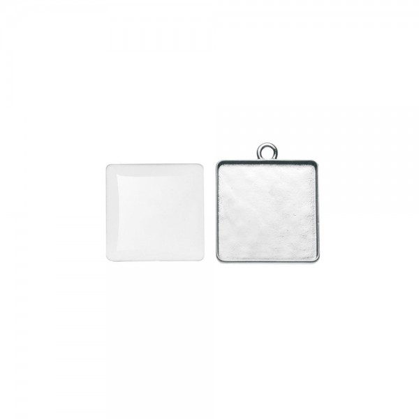 Cabochon + Anhänger, quadratisch 20x20 mm