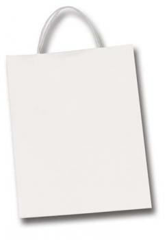 Papiertüten, Papiertragegriff, 20 Stück, 18x8x21 cm, weiß