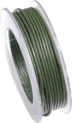 Lederriemen, 2 mm Ø - 5 m, auf Rolle, Rindleder , dkl.grün
