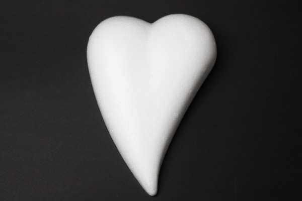 Styropor-Herz, weiß, Tropfenform, flach, 12 cm