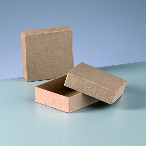 Box Quadrat, aus Pappmaché, 9 x 9 x 3 cm