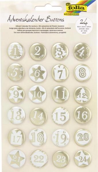 """Adventskalender """"Buttons PERLMUTT"""", aus Blech, 1 - 24"""