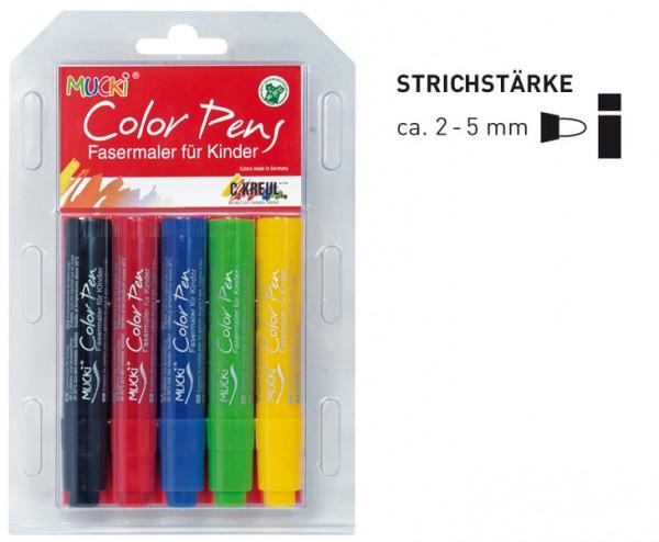 Mucki Color Pens, Fasermaler, 5 Stück