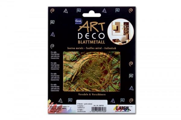 ART DECO Blattmetall, 6 Blatt, 14x14 cm, geflammt Blau-Gold