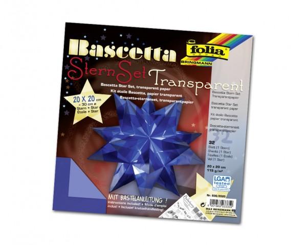 Faltblätter Bascetta-Stern, 20 x 20 cm, Transparentpapier blau