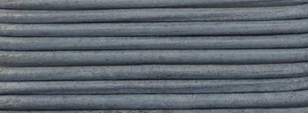 Lederriemen, 2 mm Ø - 1 m, Rindsleder, grau