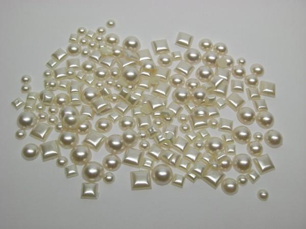 Hobby Line Schmuckperlen, Kreise und Quadrate, perlmutt-gelb