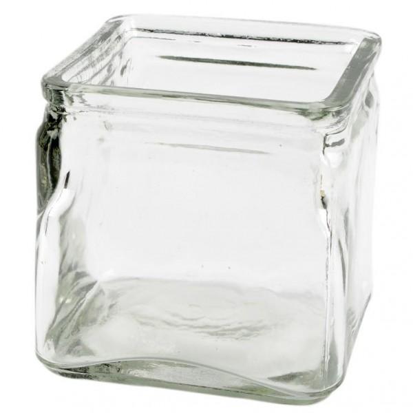 Glas, quadratisch, 9,5 x 9,5 cm, Höhe 10,5 cm