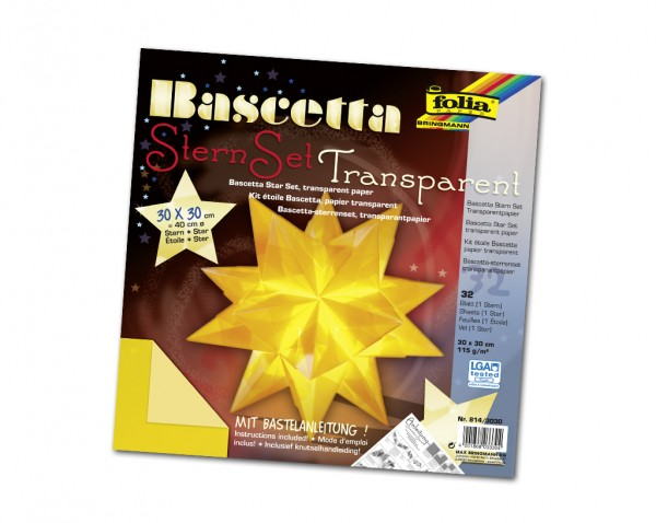 Faltblätter Bascetta-Stern, 30 x 30 cm, Transparentpapier gelb