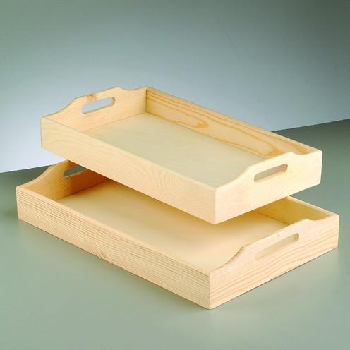 Holz-Tablett-Set, 2 Stück, 39 x 23 cm, 42,5 x 26,5 cm