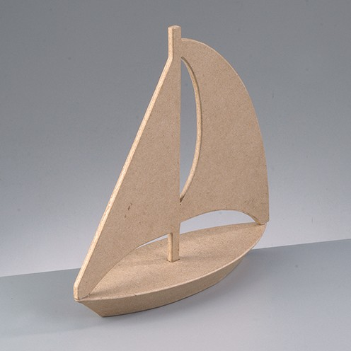 Segelboot, aus Pappmachè, 24 x 8 x 24 cm