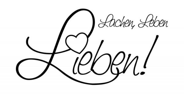 Stempel Lachen, Leben, Lieben 70x36mm