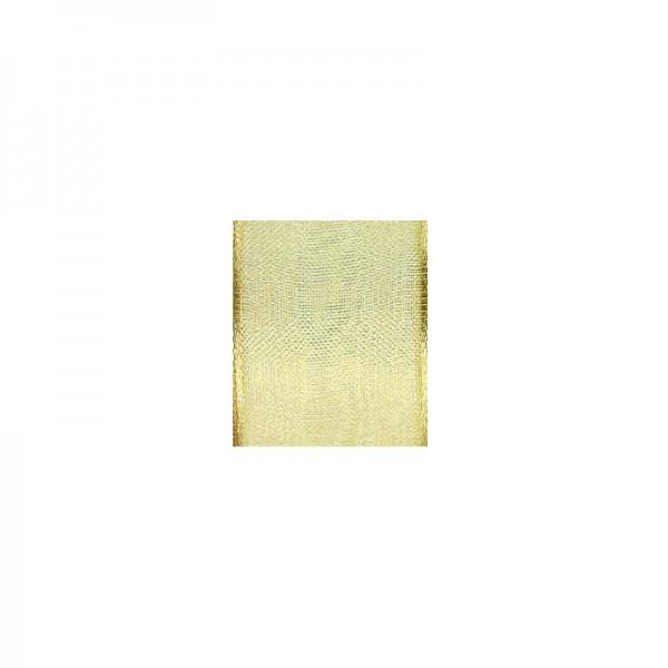 Chiffonband mit Drahtkante, 25mm breit, 5m lang - hellgold