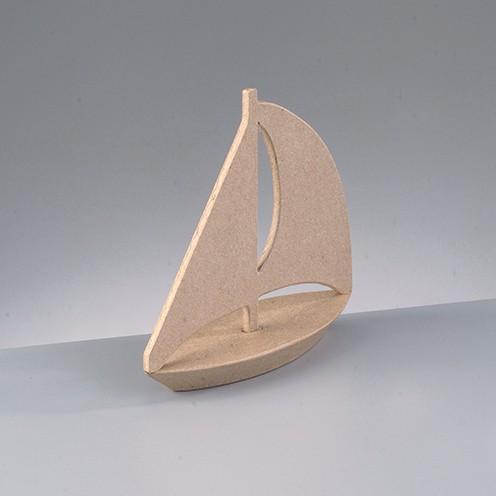 Segelboot, aus Pappmachè, 18 x 6 x 18 cm