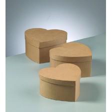Boxen-Set Herz, groß, aus Pappmaché, 3-teilig