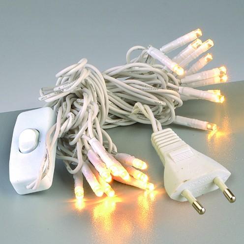 20er LED-Lichterkette, Strang, mit Schalter, weiss