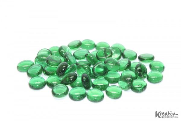 Glas-Nuggets, 200 g, Ø ca. 2 cm, transparent, grün