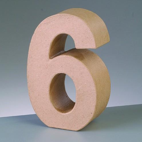 Zahl 6, 10 x 3 cm, aus Pappmaché
