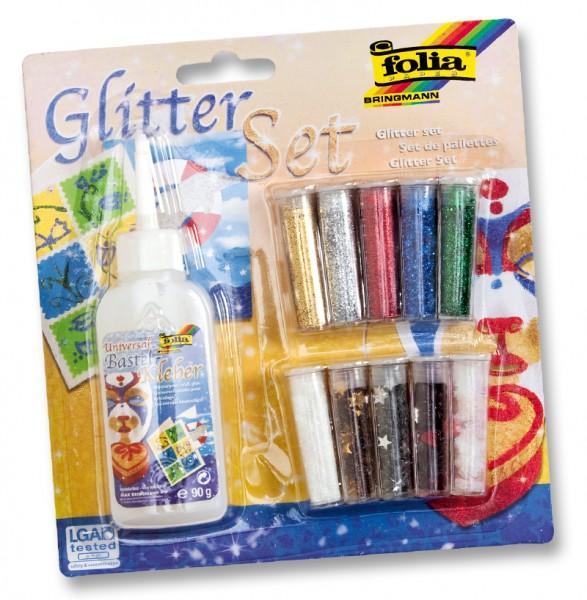 Glitter-Set, 10 Röhrchen, farbig sortiert, 1 Deko-Kleber