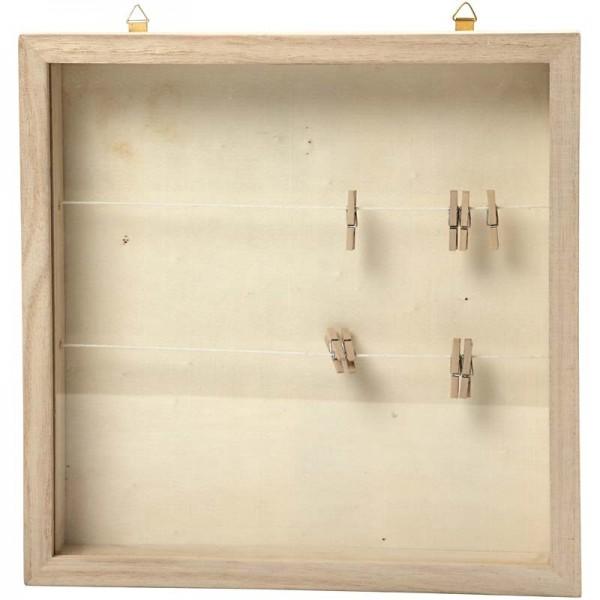 3D-Rahmen, incl. Leinen und Wäscheklammern, 23 x 23 cm