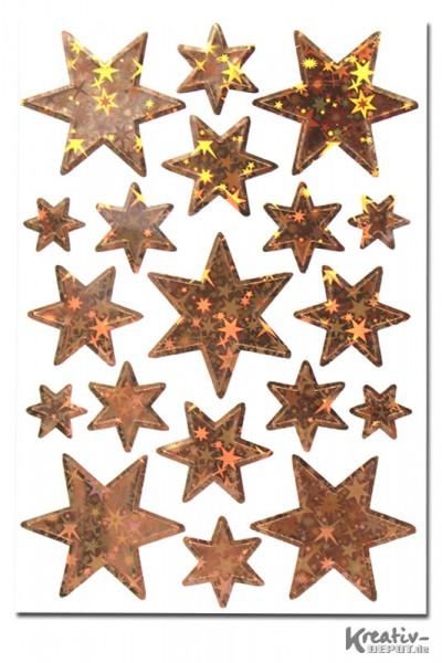 Sticker Sterne, verschiedene Größen, gold-hologaphie