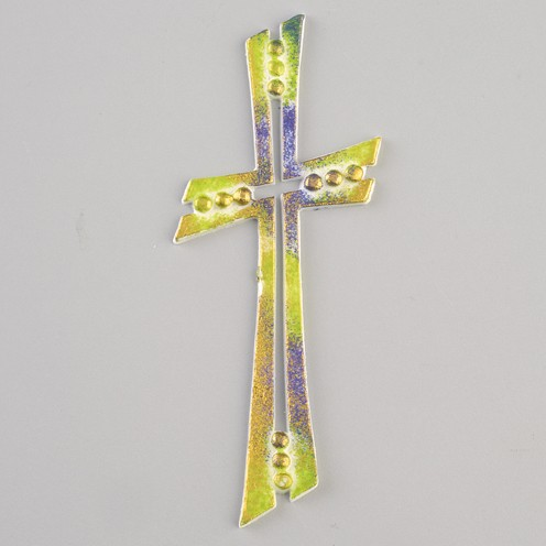 Wachsmotiv Kreuz, 11 x 5 cm, blau/grün/gold