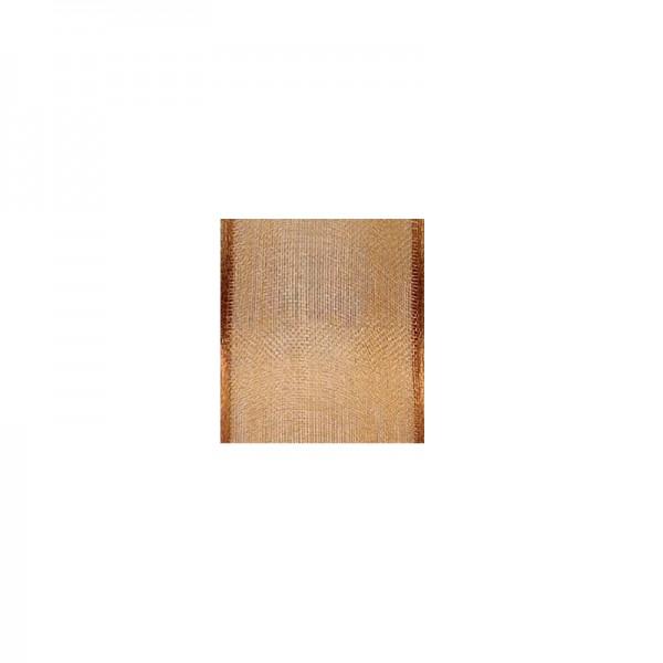 Chiffonband mit Drahtkante, 40mm breit, 5m lang - mittelbraun