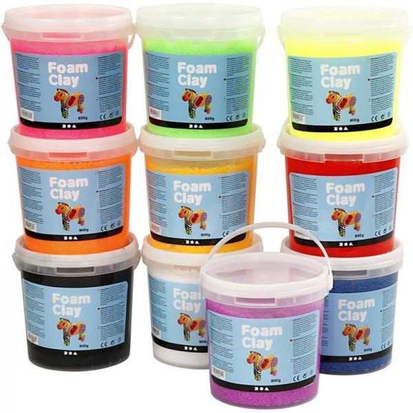 Foam Clay Set, sortierte Farben, 10 x 560g