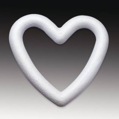 Styropor-Herz, weiß, Herzring 15 cm