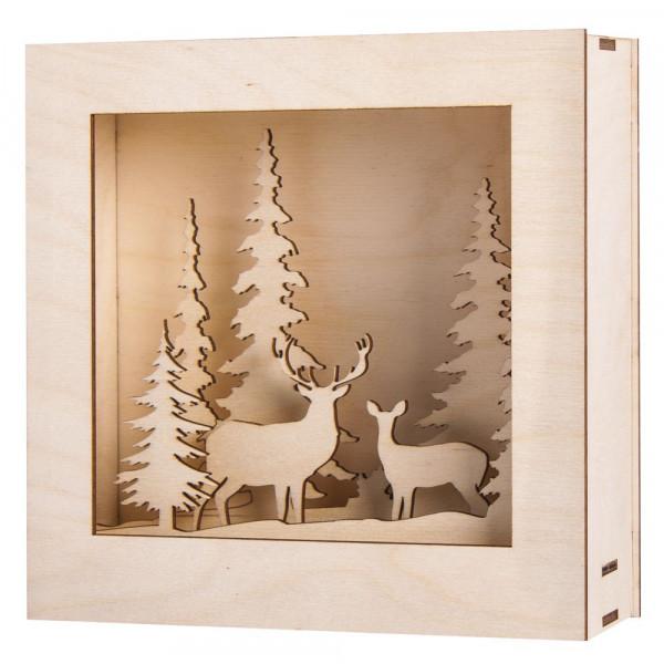 Holzbausatz 3D-Motivrahmen, Winterland, 20x20x6,6cm