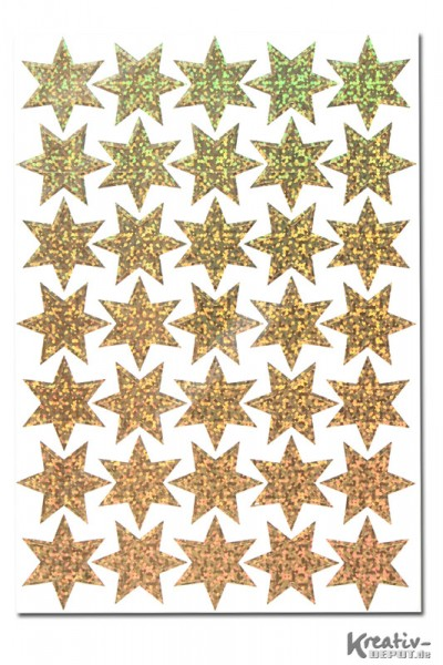 Sticker Sterne, Ø 16 mm, gold-hologaphie