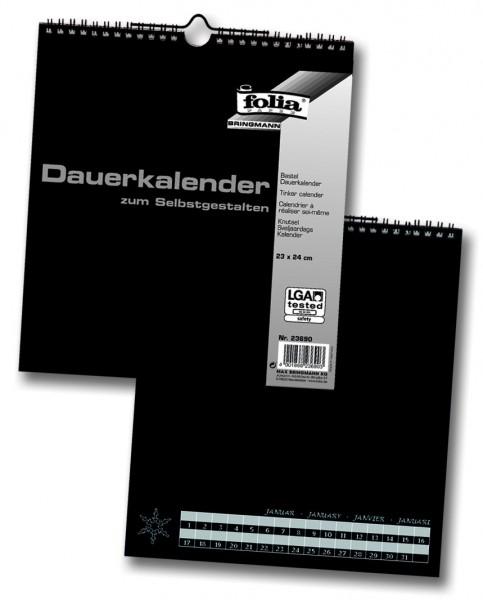 Bastel-Dauerkalender, mit Spiralbindung, schwarz, 23 x 24 cm